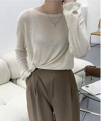 side button sheer knit/3color