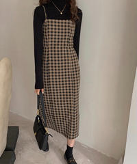 check camisole dress/2color