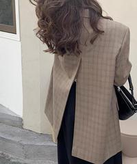 back slit check jacket/2color