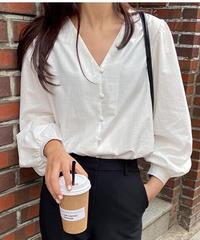 V neck white blouse