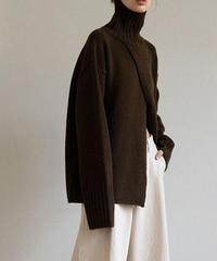 【wool 50%】high neck slit knit/3color