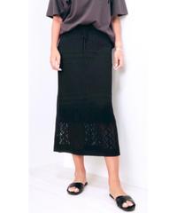 模様編みニットロングスカート (ブラック)