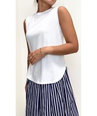BASICラウンドヘムノースリーブTシャツ (ホワイト)
