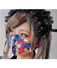 【Triple fortune】トリプルフォーチュン マスク(紺赤蝶)
