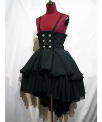 【MARBLE】マーブル エンブレム飾りチェーン付きハイウエストドレープスカート:黒
