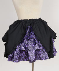 【MARBLE】パ二エ入り3段スカート +タック変形スカート:紫黒ゴシック柄