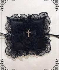 【MARBLE】マーブル十字架付きリバーシブルアイパッチ(眼帯):黒×黒花柄サテン×SV十字架