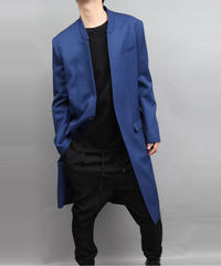WOOL TWILL COAT JACKET BLUE