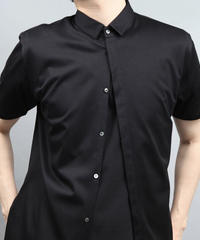 60/2T-CLOTH SHORT POPINT COLLAR SHORT SLEEVE/BLACK