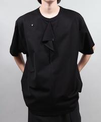 Buttoned drape T/BLACK