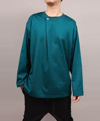 METALCOLOR BUTTON DRAPE LONG SLEEVE T-SHIRT/B.GREEN