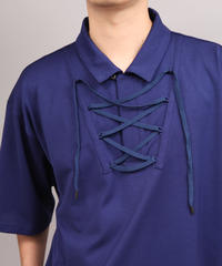 LACE UP POLO SHIRT/BLUE