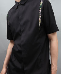 FLOWER PRINT SEAM SHIRT BLACK