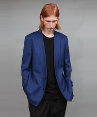 WOOL TWILL NO-COLLAR JACKET/BLUE