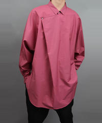 METALCOLOR BUTTON DRAPE SHIRT RED