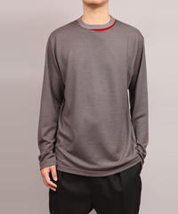 NECK SLIT T-SHIRT/D.GRAY