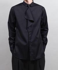 buttoned drape shirts/BLACK