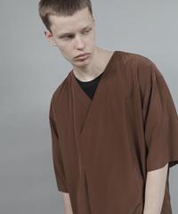 v-neck fabric drape T/BROWN
