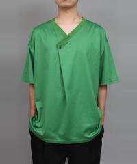 DRAPE V-NECK T-SHIRT/GREEN