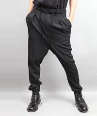 WOOL STRETCH SARROUEL PANTS BLACK