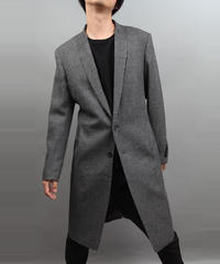 LAPEL HOLD SEAM CHESTERFIELD COAT D.GRAY