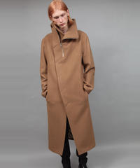 STAND COLLAR ZIP COAT/BEIGE