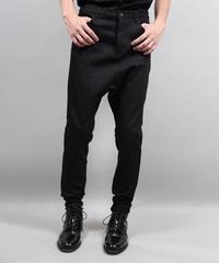 STRETCH DENIM SARROUEL PANTS/BLACK