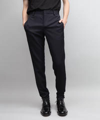 WOOL TWILL TAPERED PANTS/NAVY
