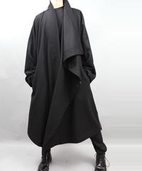 DRAPE COAT LEATHER BELT  BLACK