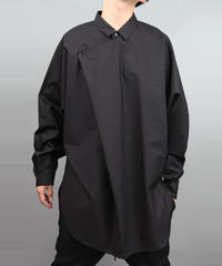 METALCOLOR BUTTON DRAPE SHIRT BLACK