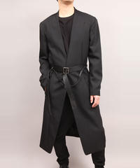 COLLARLESS COAT/BLACK