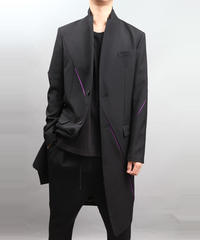 SLASH CHESTERFIELD COAT BLACK