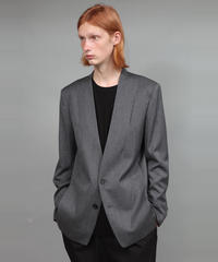 WOOL TWILL NO-COLLAR JACKET/GREY