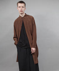 thin long shirt/BROWN