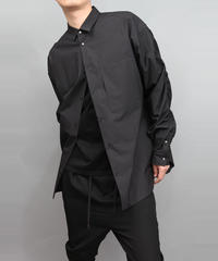 120/2 BROADCLOTH SHIRRING SLEEVE SHIRTS BLACK