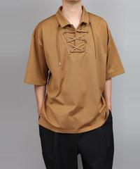 LACE UP POLO SHIRT/BEIGE
