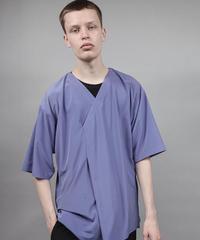 v-neck fabric drape T/BLUE