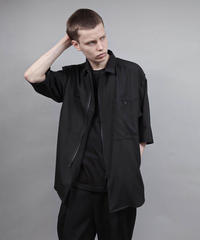 zipup short sleeve shirt/BLACK