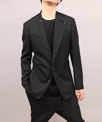 LAPEL BUTTON JACKET/BLACK