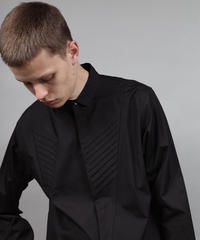 pleated shirt/BLACK