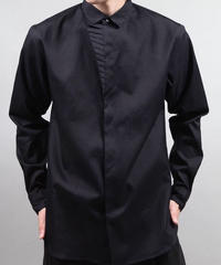 untrimmed pleated shirts/BLACK
