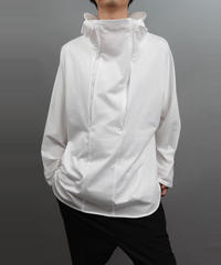 DOUBLE CONCEAL ZIP HOOD T-SHIRT WHITE