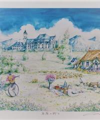 内田新哉版画「草原の祈り」(額付き)