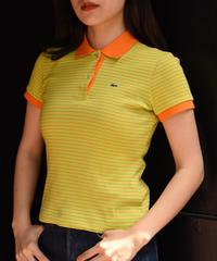 LACOSTE/ vintage logo orange×green  polo shirt.