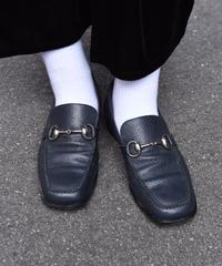 GUCCI/ vintage leather silver  horsebit loafer.