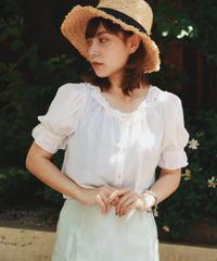 DOLCE&GABBANA/  puff sleeve frill silk blouse.
