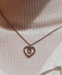 Salvatore Ferragamo/ vintage heart gancini silver  necklace.(U)