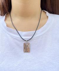 Yves saint laurent/silver logo plate necklace.511005T