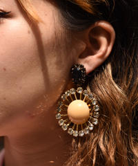 Marni / cubic zirconia design clip-on earrings.