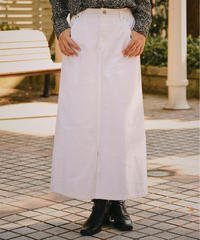 agnes b/white long denim skirt.